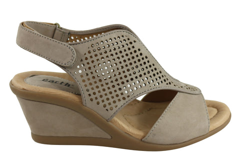 Earth Dalia Womens Comfortable Nubuck Mid Height Wedge Sandals