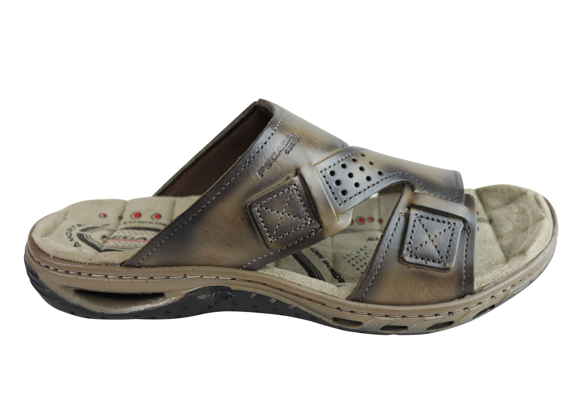442dc61676ca Brand New Pegada Andy Mens Leather Comfy Cushioned Slide Sandals Made In  Brazil