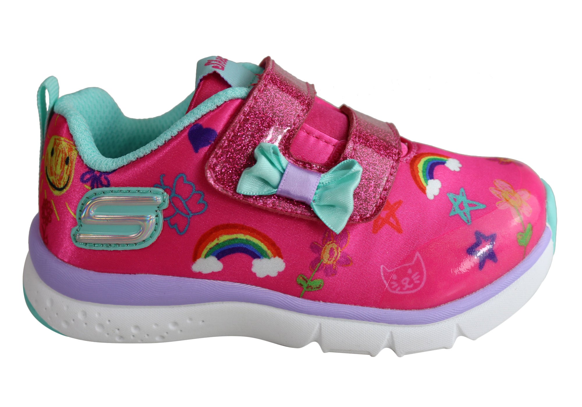 7cbe049fdf Skechers Infant Girls Jump Lites Adjustable Strap Lightweight Shoes ...