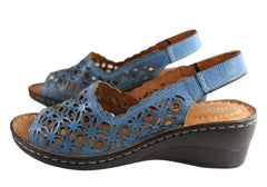 Orizonte Stella Womens European Comfortable Leather Wedge Sandals