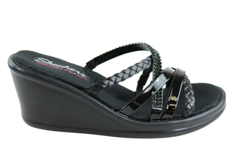 Skechers Womens Rumblers Wild Child Memory Foam Wedge Sandals