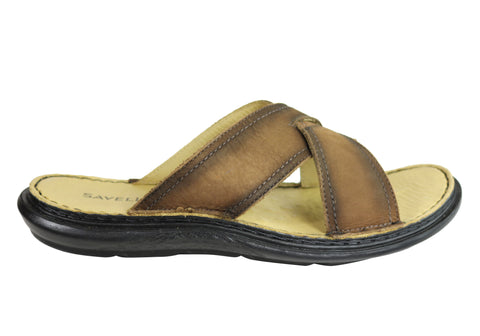Savelli Kobes Mens Leather Comfort Slide Sandals Made In Brazil