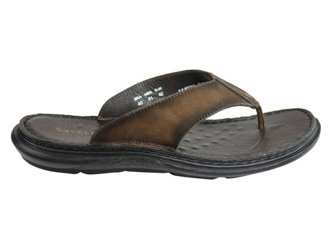 Savelli Wyatt Mens Comfortable Leather Thongs Sandals Made In Brazil