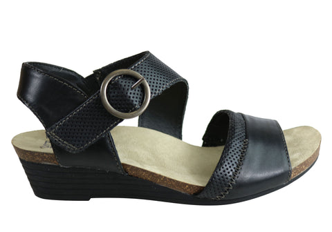 Planet Shoes Dark Womens Leather Comfortable Low Heel Wedge Sandals