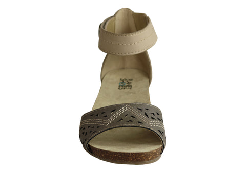 ad8bc1a7828d Planet Shoes Deep Womens Leather Comfortable Low Heel Wedge Sandals ...