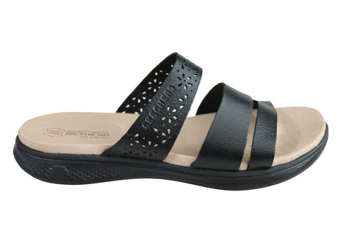 Skechers Womens On The Go Luxe Sunburst Leather Comfort Sandals Slides