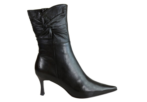 Chch Paris Faith Womens Comfortable Leather Mid Heel Ankle Boots