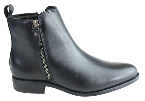 Villione Heather Womens Comfortable Leather Ankle Boots Made In Brazil