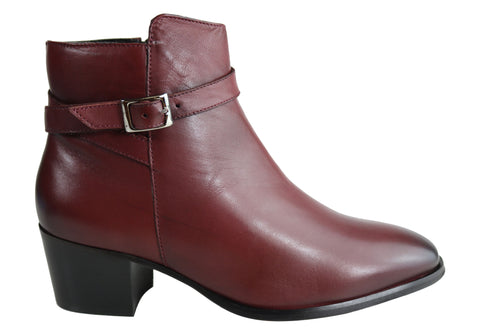 Villione Stacey Womens Comfortable Leather Ankle Boots Made In Brazil