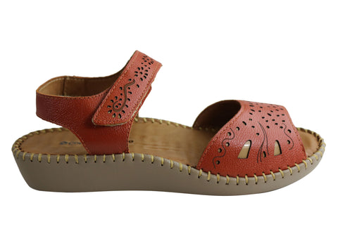 Comfortshoeco Meredith Womens Cushioned Comfortable Leather Sandals