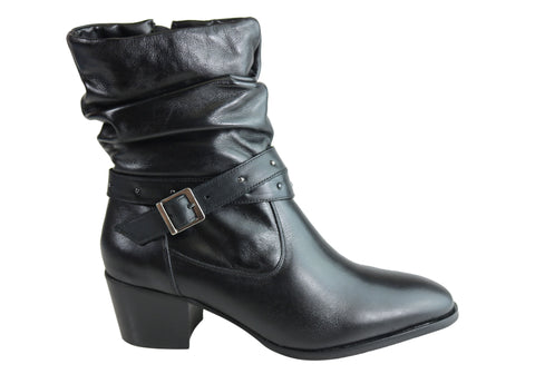 Villione Erin Womens Comfortable Leather Ankle Boots Made In Brazil