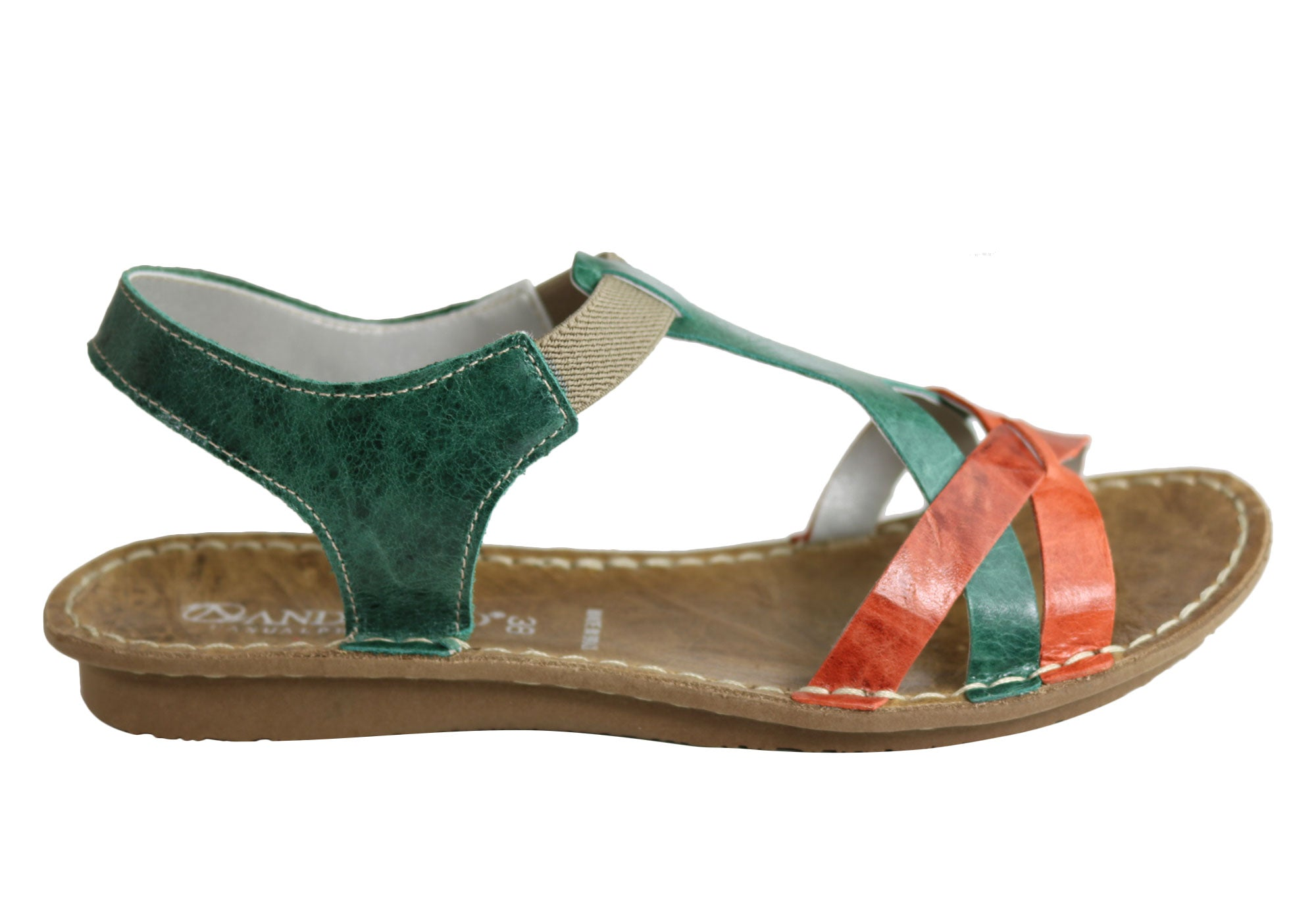 e8be657d140 Home Andacco May Womens Comfortable Flat Leather Sandals Made In Brazil.  Sale is over. Green Multi ...