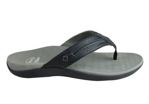 Scholl Orthaheel Bermuda Mens Comfortable Leather Supportive Thongs
