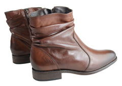 Villione Jean Womens Comfortable Leather Ankle Boots Made In Brazil