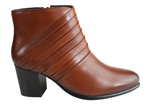 Villione Skyler Womens Comfortable Leather Ankle Boots Made In Brazil