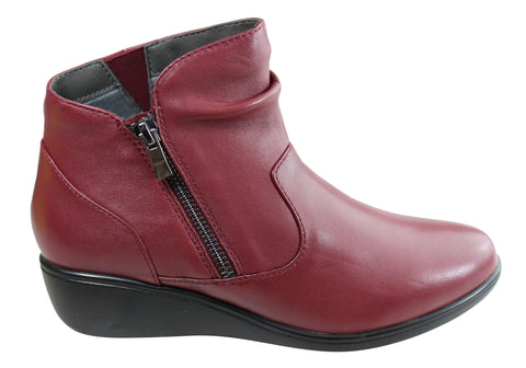 Scholl Orthaheel Kindred Womens Leather Comfortable Wedge Ankle Boots
