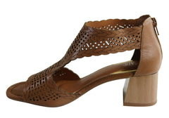 Orcade Tindol Womens Brazilian Comfortable Leather Mid Heel Sandals
