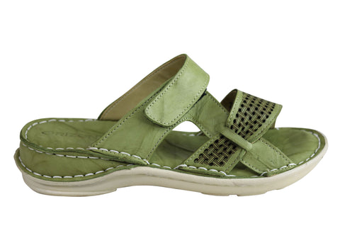 Orizonte Ozlow Womens European Leather Comfort Cushioned Slide Sandals