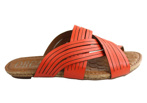Orcade Carly Womens Comfortable Leather Slides Sandals Made In Brazil