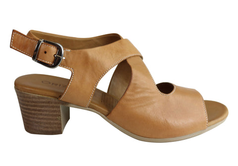 Orizonte Kirsty Womens European Comfortable Leather Mid Heel Sandals