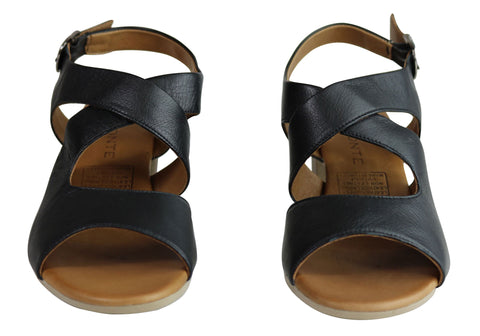 ea57d3b33575 Orizonte Kirsty Womens European Comfortable Leather Mid Heel Sandals ...