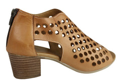 Orizonte Kadi Womens European Comfortable Leather Mid Heel Sandals