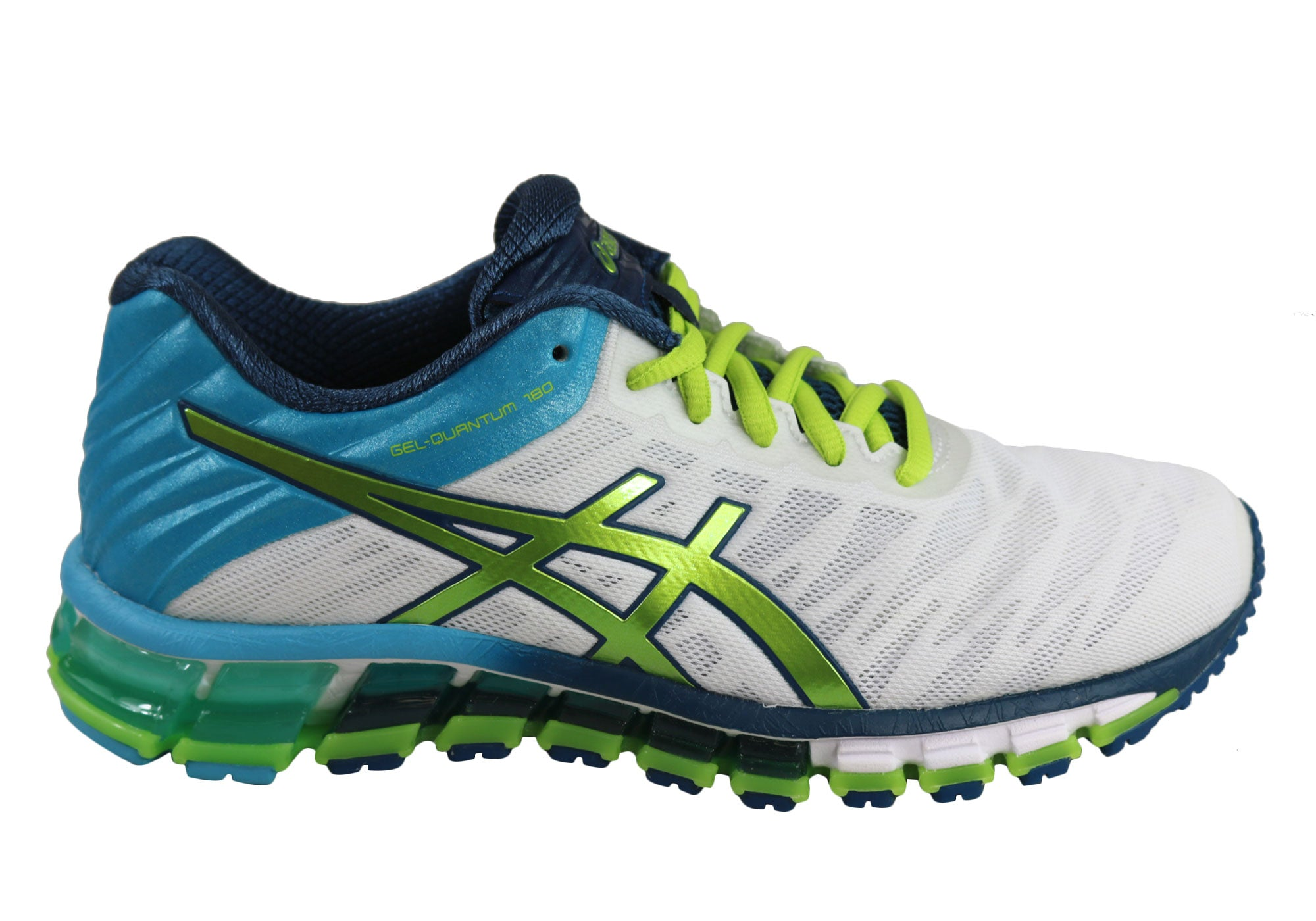 32d2f4215b8 Home Asics Quantum 180 Womens Cushioned Sports Running Shoes. Black Gold   White Lime ...