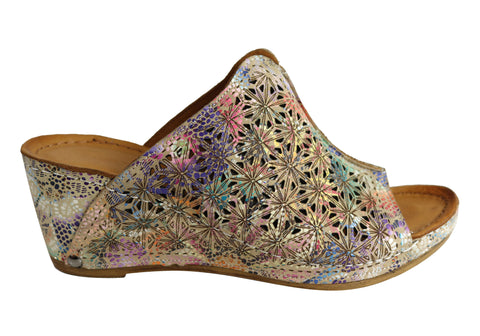 Orizonte Talia Womens European Leather Comfortable Wedge Slide Sandals