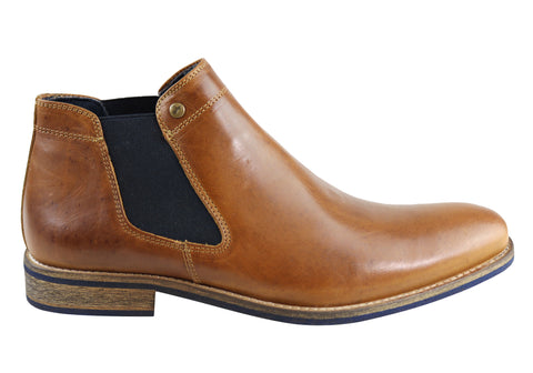 Wild Rhino Drake Mens Leather Chelsea Dress Boots Made In Portugal