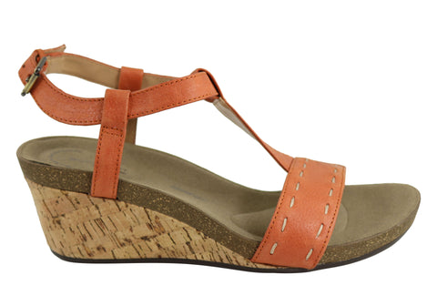 Rockport Taja T Strap Womens Comfortable Leather Wedge Sandals