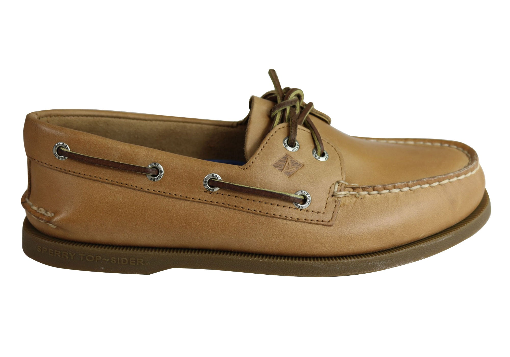 cae0817a51 Home Sperry Mens A 0 2 Eye Leather Lace Up Comfortable Wide Fit Boat Shoes.  Sahara ...