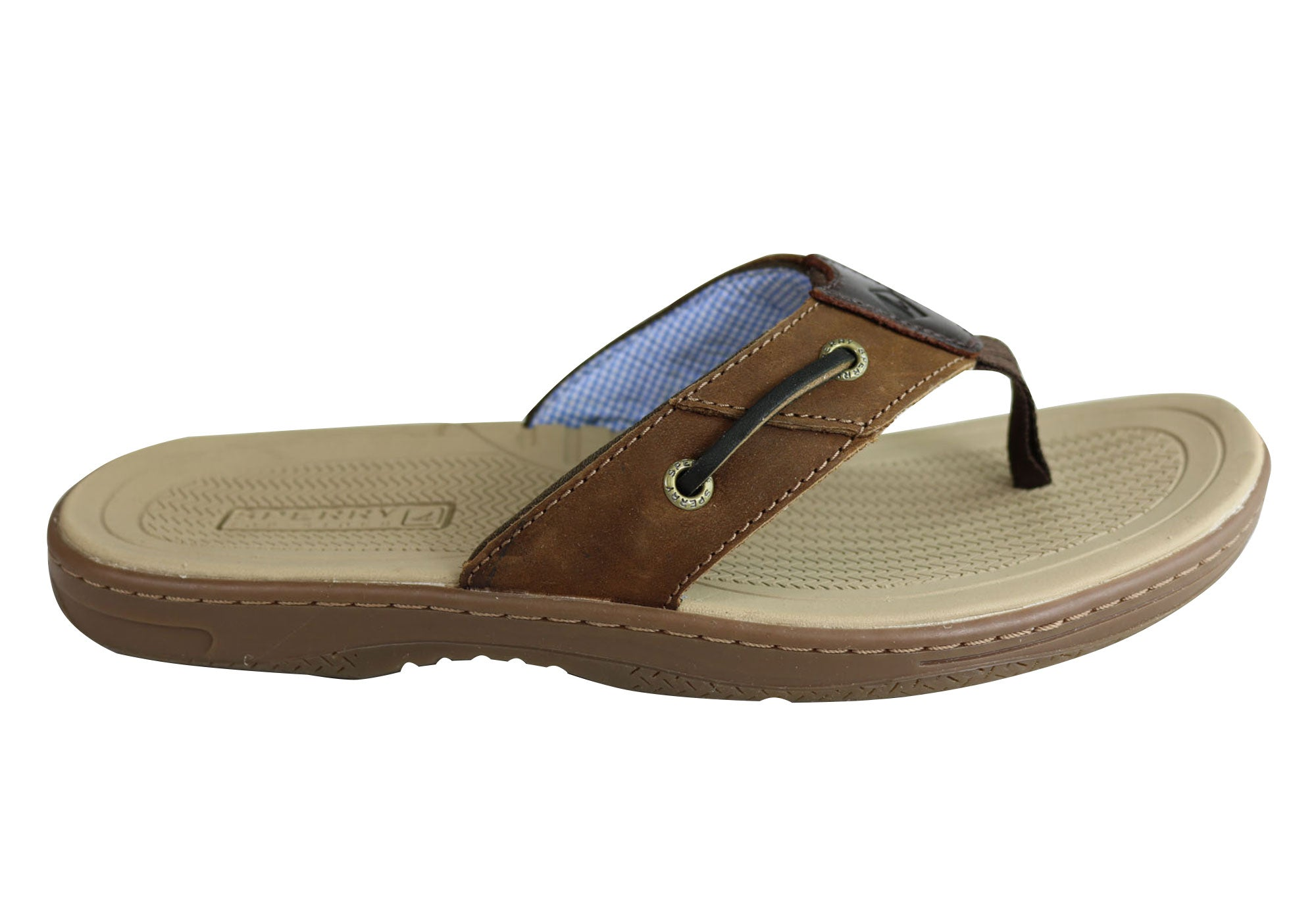 6586699a157c Details about Sperry Mens Comfortable Leather Baitfish Sandals Flip Flops  Thongs