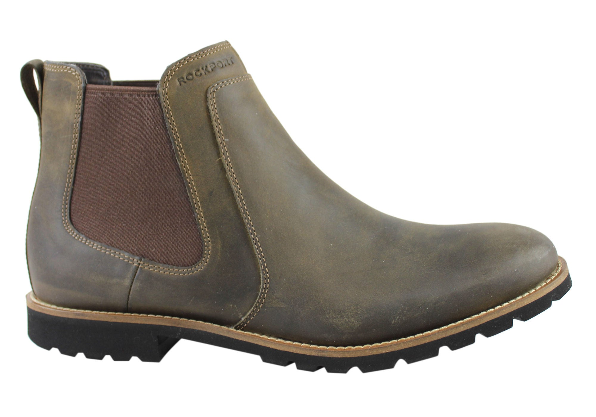 Rockport Mens Leather S & R Chelsea Pull On Boots