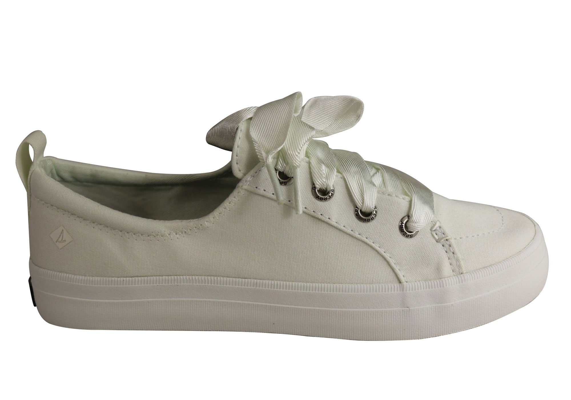 23ea9451ab7 Home Sperry Womens Comfort Fashion Crest Vibe Satin Lace Sneaker Casuals.  White  Rose ...