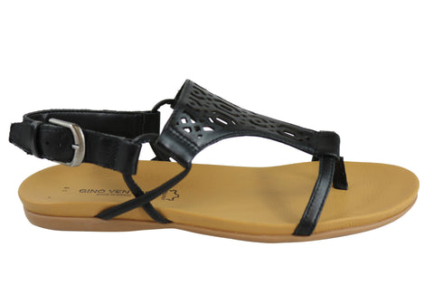 Gino Ventori Nudge Womens Flat Leather T-Bar Sandals Made In Brazil