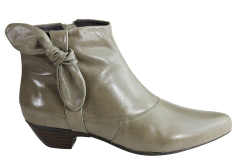 Orizonte Rex Womens Comfortable Low Heel Leather Ankle Boots
