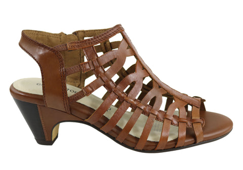 Gino Ventori Forever Womens Strappy Mid Heel Leather Sandals