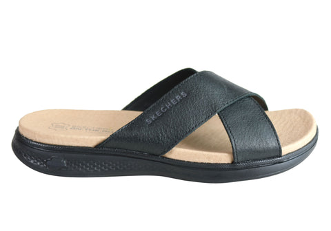 Skechers Womens On The Go Luxe Finesse Leather Comfort Sandals Slides