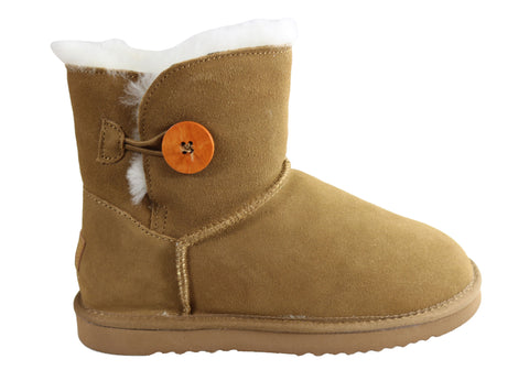 Grosby Button Ugg Womens Warm Comfort Boots With Sheepskin Lining