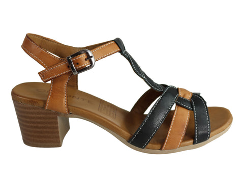 Orizonte Candi Womens European Leather Mid Heel Comfortable Sandals