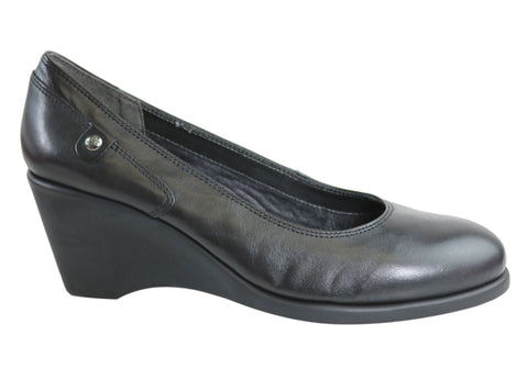 Hush Puppies Leigh Margeary Womens Leather Wedge Shoes