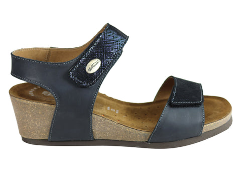 Florance 39718 Womens Leather Comfortable Wedge Sandals Made in Italy