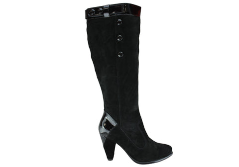 Hush Puppies Lottie Black Suede Womens Fashion Knee Hi Boots