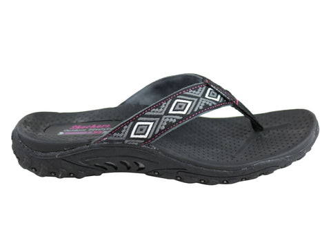Skechers Womens Reggae Decorum Comfort Flat Thongs Flip Flops