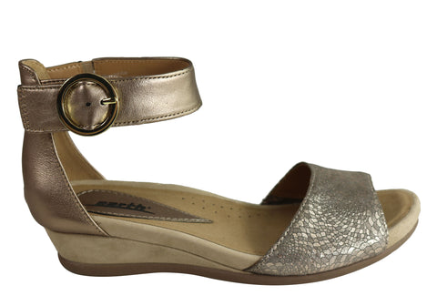 Earth Hera Womens Comfortable Leather Ankle Strap Low Wedge Sandals