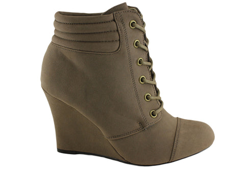 Isabella Brown Ruben Womens Fashion Wedge Heel Ankle Boots