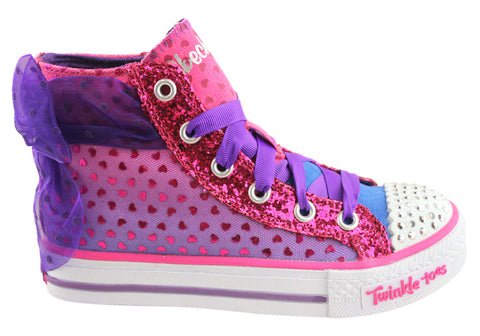 Skechers Twinkle Toes Shuffles Pixie Bunch Hi Top Shoes