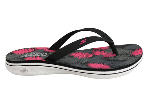 Skechers Womens H2 Goga Lagoon Cushioned Fit Flops Thongs