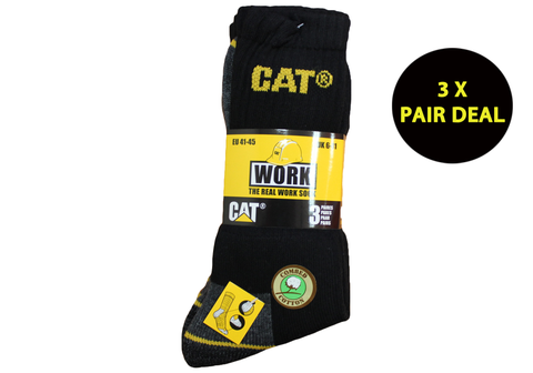 3 Pairs of Caterpillar Mens Comfort Crew Socks