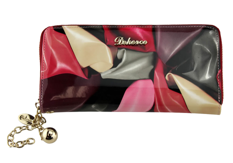 Dekerce Satin Print Womens Leather Wallet